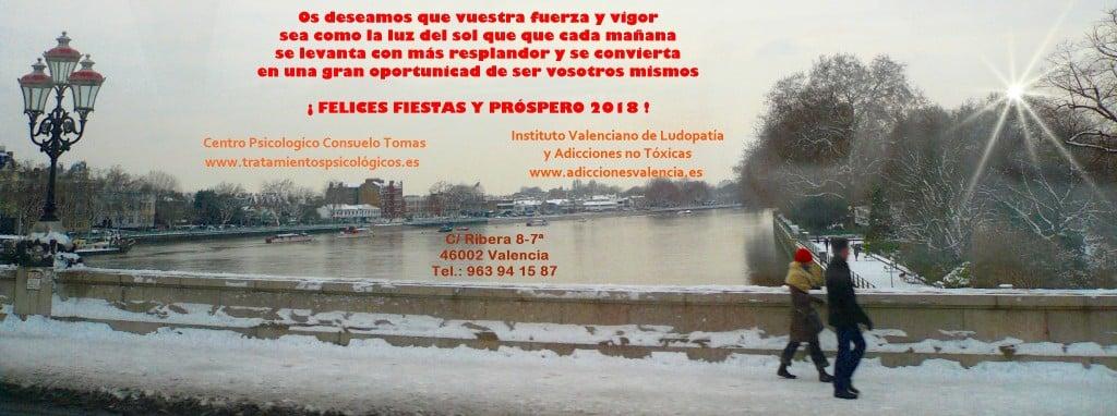 Felices Fiestas y Año 2018 - Foto Consuelo Tomás 21.12.2017- Centro psicológico Consuelo Tomás - Instituto Valenciano de Ludopatía y Adicciones no Tóxicas - psicologos Valencia
